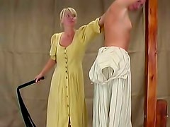Blonde chick with small boobs gets punished