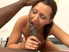 Brunette Ho Does Her Best To Control This Big Bad Weapon