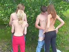 Group sex in the woods stars hot teens