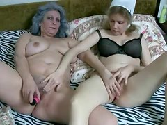 Granny and her caretaker have lesbian sex