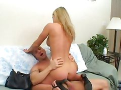 Hottie Lori Lust rides her wet pussy on this stiff cock