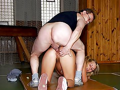 Naturally Busty Blonde Teen Gets Fucked By Her Old Gym Teacher