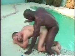 Interracial bear blowjob and fuck sex outdoors