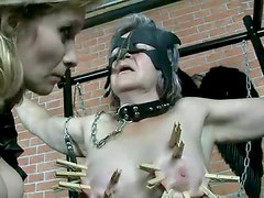 Clothes pins and pain for submissive granny