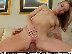 Sexy amateur blonde babe fucked hard and riding cock on couch