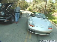 Two horny blonde girls get fucked rough near the car
