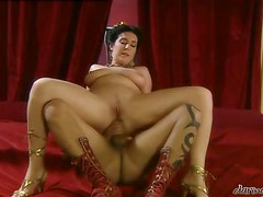 Chubby Roman lady gets her ass and pussy drilled