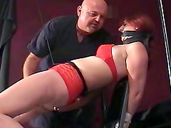Red panties on bondage slut