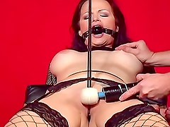 Gagged and bound girl in fishnets