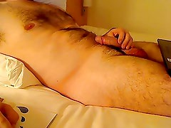 Jerking-off without lingerie in hotel room