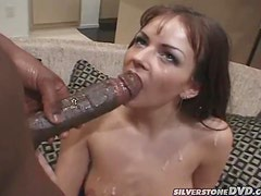 Smoking hot babe gets a huge black cock in her tight pussy