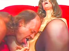 Old lady in stockings sucks cock