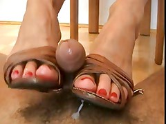 Blonde woman shoejob