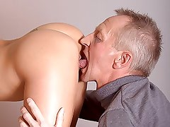 Stunning Brunette Office Slut Gets Her Wet Pussy Fucked By an Old Man