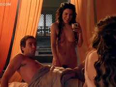 Lucy Lawless Throws Wine On Her So Jaime Murray Can Drink It