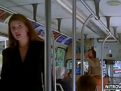 Stefanie Von Pfetten Flashes Her Big Round Jugs On a Bus - Movie Scene
