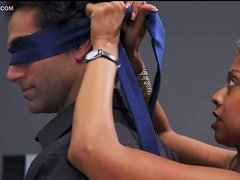 Exotic Babe A.J. Khan Blindfolding and Riding A Lucky Dude
