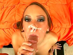 Dick sucking glam slut gets a facial