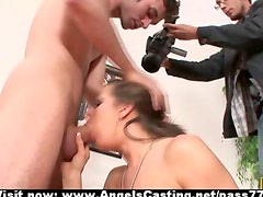 Brunette lady doing blowjob and getting pussy fucked and licked