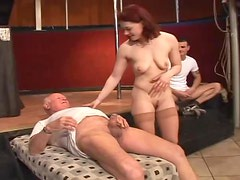 Horny babe Sarah Blue gets fucked by hundred men