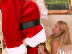 Petite blonde teen fucked up her cunt with man in santa costume