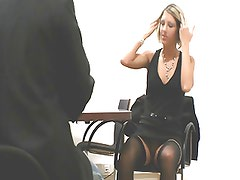 German Blonde fucks at job interview