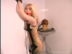 Submissive Blonde Gets Tied and Humiliated By Hooded Lesbian Dominatrix