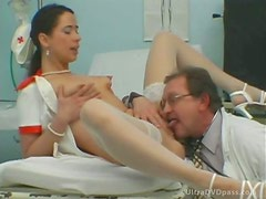 Smutty Brunette Nurse Gets Fucked and Facialized in a Wild Threesome