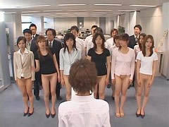 Half-Naked Asian Babes Show Off Their Pussies and Their Asses in the Office