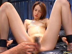 Horny Asian Gets Oiled Up and Covered With Cum