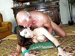 Horny Old Man Fucks a Slutty Brunette Teen With Big Natural Knockers