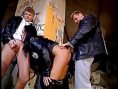 A chick joins a threesome with Barbara and 2 other guys