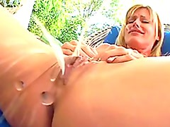 Very Good Squirt By a Masturbating Blonde