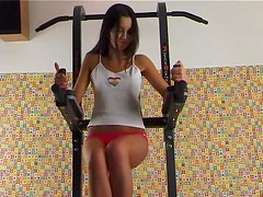 Drop Dead Gorgeous Brunette Teen Masturbates at the Gym