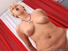 Slutty blonde mature babe blows a cock and gets fucked