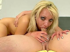 Big boobs blonde gags on big cock