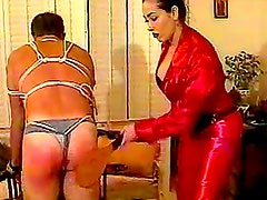 Asian mistress mercilessly beats his ass