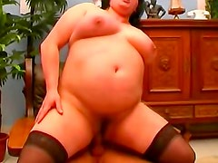 Huge belly BBW fuck and facial