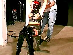 Kinky breath play and latex bondage