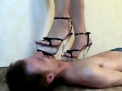 High heels girl fully tramples him
