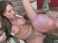 Brooke uses her Giant balloons to fuck a hard schlong outside