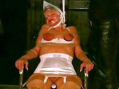 Bagging with sexy girl in bondage