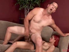 Redhead Tranny Fucks A Dude In The Ass.