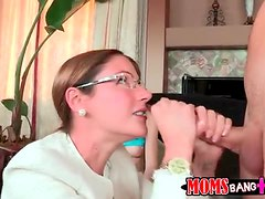 Sexy mom in business clothes sucks dick with teen