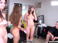 Three Girls Stripping for Cock