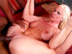 Flexible blonde milf plowed by a black cock