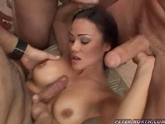 Peter North and his friends mouth-fuck Rose and fill her throat with cum