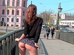 Beautiful girl public flashing in short dress