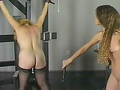 Fat and skinny women try whipping each other
