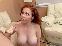 Handjob video stars fake tits redhead